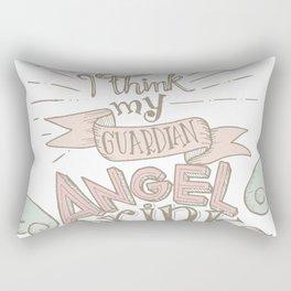 My guardian angel drinks Rectangular Pillow