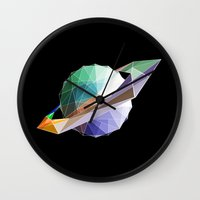 saturn Wall Clocks featuring Saturn by Tony Vazquez