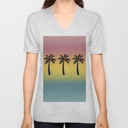 Palm Tree Tropical Paradise on Retro Gradient Unisex V-Neck