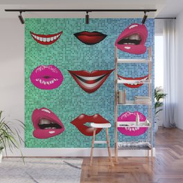 Sweet Sensual Funky Cool Lips Pattern Wall Mural