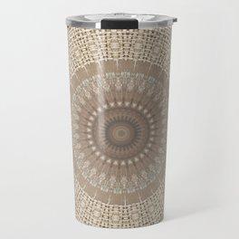 Unique Texture Taupe Burlap Mandala Design Travel Mug