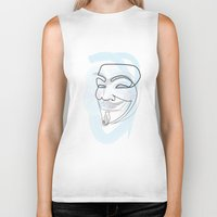 quibe Biker Tanks featuring One line mask: V by quibe