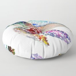 Sea Turtle, swimming turtle art, purple blue design animal art Floor Pillow