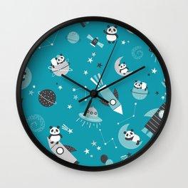 Pandas In Space Blue Gray Wall Clock