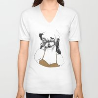 racoon V-neck T-shirts featuring racoon girl by Maria Suckert