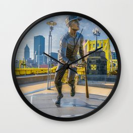 Pittsburgh Roberto Clemente Statue Bridge Print Wall Clock