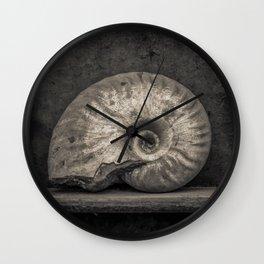 Ammonite Fossil in Sepia Wall Clock