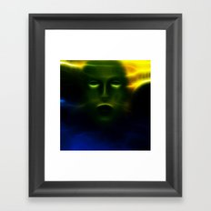 Green Face from Outer Space Framed Art Print