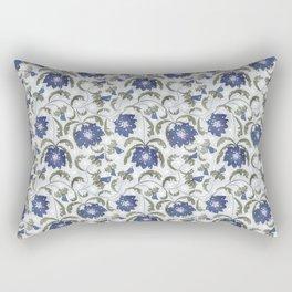 Retro . Floral pattern in blue tones . Rectangular Pillow
