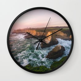 Golden California Coastline - Santa Cruz, California Wall Clock