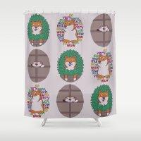 shiba inu Shower Curtains featuring Inu by Corinna Schlachter