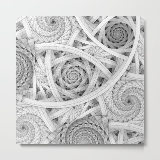 GET LOST - Black and White Spiral Metal Print