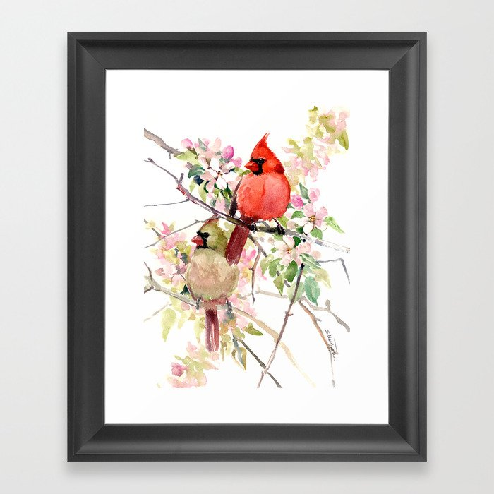 Cardinal Birds and Spring, cardinal bird design Gerahmter Kunstdruck