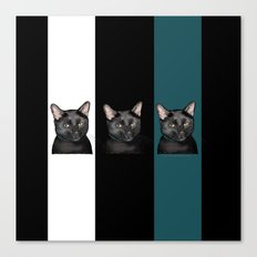 Three Black Cats with a White/Black/Green Background Canvas Print