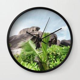 tropical landscape view la digue seychelles Wall Clock