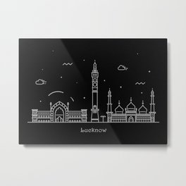 Lucknow Minimal Nightscape / Skyline Drawing Metal Print