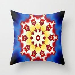 Robot Bird Mandala Throw Pillow