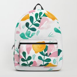 Abstract Lemons Composition // Yellow Turquoise Pink Palette Backpack