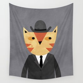 Ginger Cat in a Bowler Hat Wall Tapestry