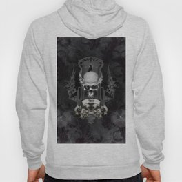 Awesome skull with crow, black and white Hoody
