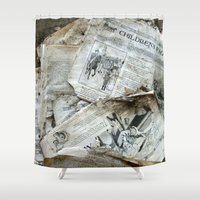 newspaper Shower Curtains featuring Old Newspaper Left to the Elements...Children's Page by Andrea Jean Clausen - andreajeanco
