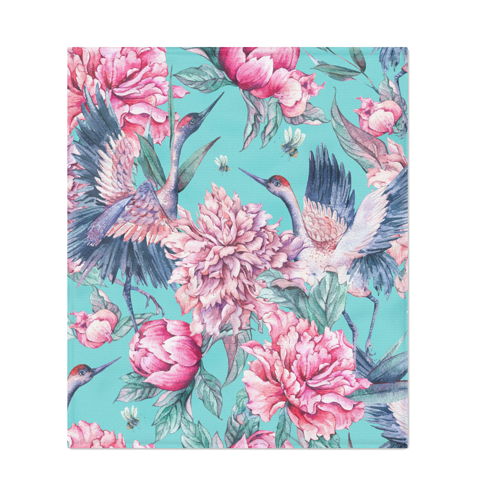 Teal_Peonies_And_Birds_Throw_Blanket_by_peggieprints