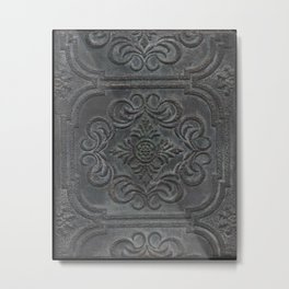 Antique Tin Ceiling Tile - Mixed Media Original Art by Tracy Sayers Trombetta Metal Print