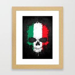 Flag of Italy on a Chaotic Splatter Skull Framed Art Print