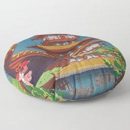 Japanese Woodblock Print Vintage Asian Art Colorful woodblock prints Pagoda Shinto Shrine Floor Pillow