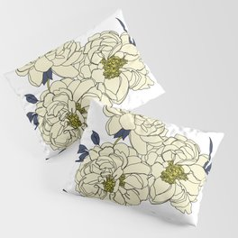 Botanical floral illustration line drawing - Peony Pillow Sham