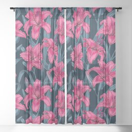 Pink lily flowers Sheer Curtain