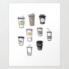 one regular coffee, to go, soy milk, 2 pumps vanilla Art Print
