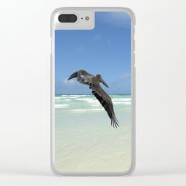 Pelican above the ocean Clear iPhone Case
