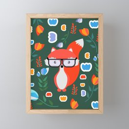 Fox with glasses and flowers Framed Mini Art Print