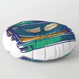 Astronaut Helmet - Satellite and the Moon Floor Pillow