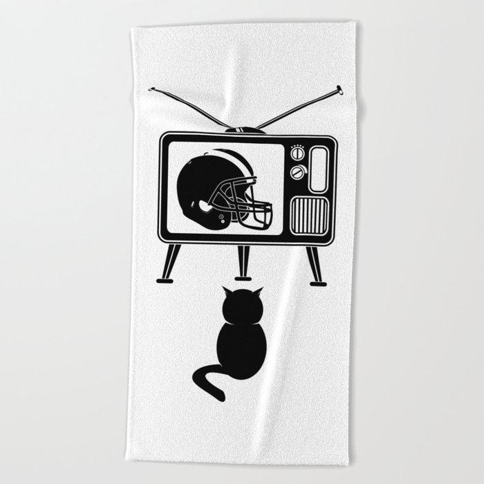 Cat Watching American Football Beach Towel