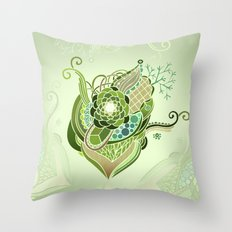 My tangled heart, olive Throw Pillow