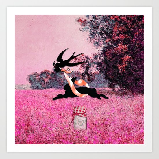 Pink Whimsical cute rabbit, bird vector on field collage Art Print