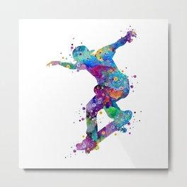 Skater Boy Art Colorful Watercolor Gift Metal Print