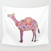 camel Wall Tapestries featuring Henna Camel by Sad Zebra