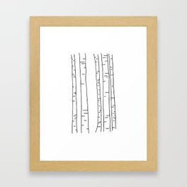 Minimal birches Framed Art Print