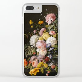 Still Life Flowers and Fruit by Severin Roesen, 1855 Clear iPhone Case