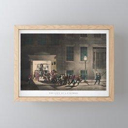 The Life Of A Fireman - The Night Alarm - Circa 1854 Framed Mini Art Print