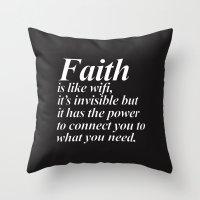 faith Throw Pillows featuring Faith. by Sara Eshak
