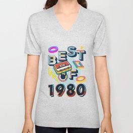 Best of 1980 - 40th Birthday - Retro Vintage Cassette Tape Unisex V-Neck