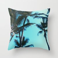 palm trees Throw Pillows featuring Palm Trees by Alexandra Str