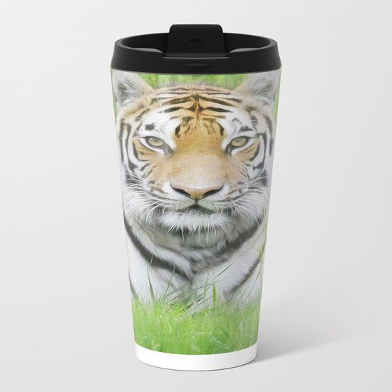 Tiger Stare Metal Travel Mug