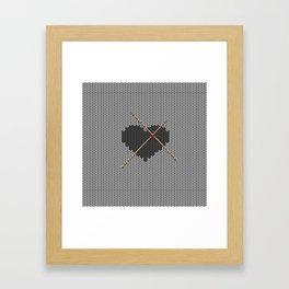 Original Knitted Heart Design Framed Art Print
