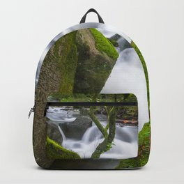Lovely green forest and wild river Backpack