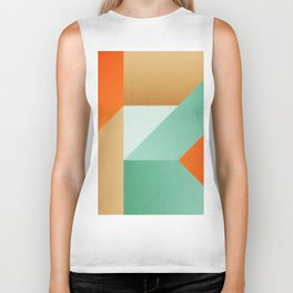 Abstract art - Color pattern 3 - green, orange , gold Biker Tank